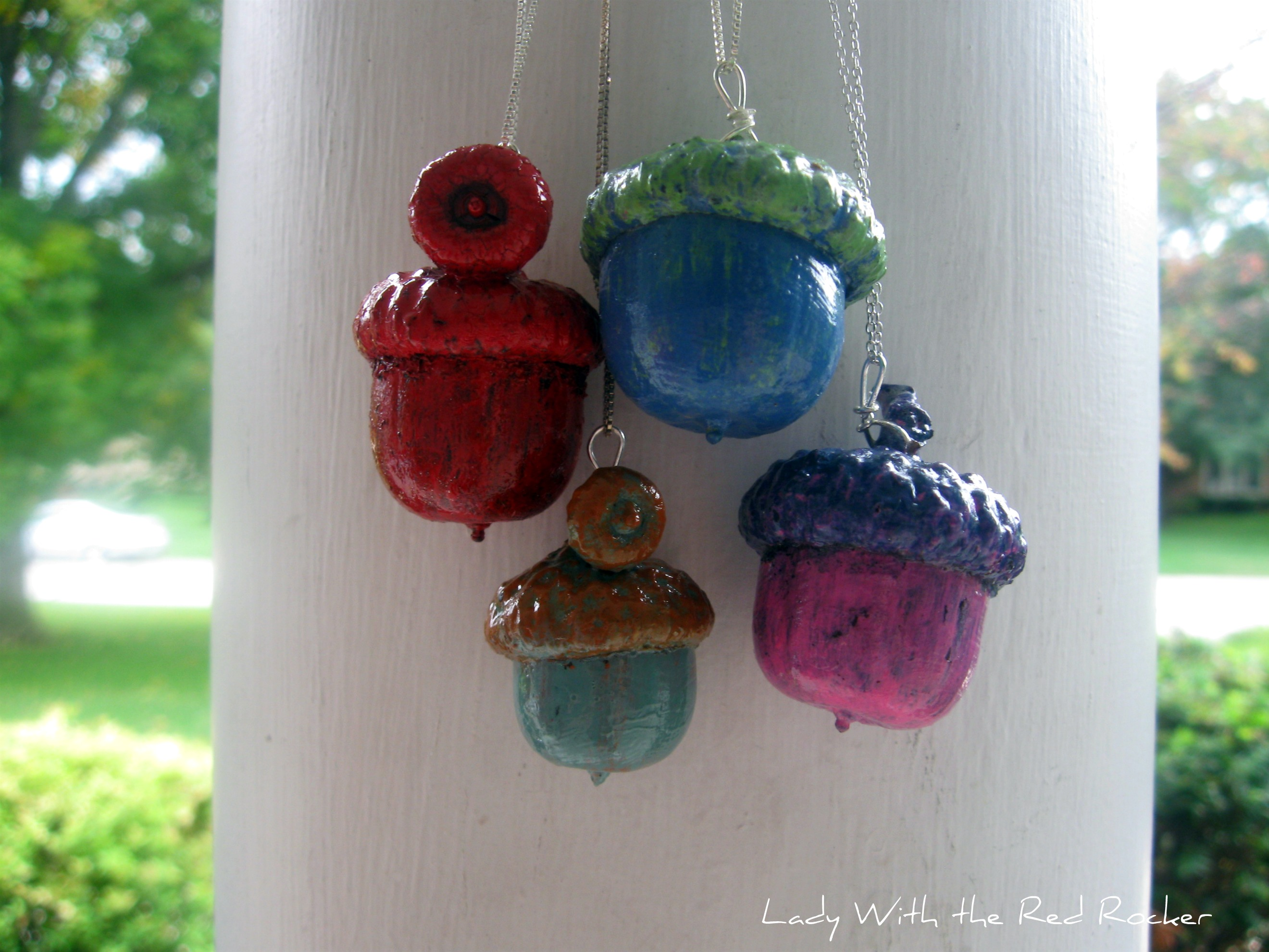 Painted acorn necklaces lady with the red rocker for Acorn necklace craft