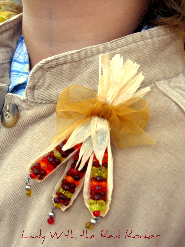 unique halloween jewelry: beaded indian corn pin